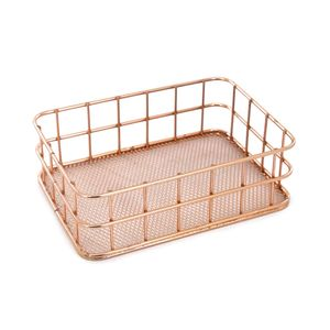 Organizador de Mesa Le Aramado Metal Retangular Rosé Gold 17x12x5,2cm