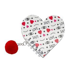 Caderneta Le Capa Flexível Love Formato Coração com Pompom 30 Folhas