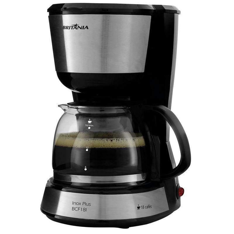 Cafeteira Elétrica Britania Inox Plus Preto 110v - Bcf18i