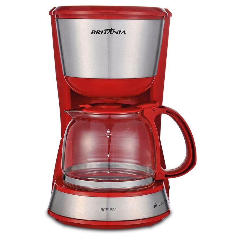 Cafeteira Elétrica Britania Inox Plus Vermelho 220v - Bcf18iv