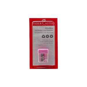 Apontador Faber-Castell Depósito Minibox Tons Pastéis com Tampa Flip-Top