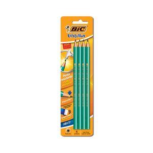 Lápis Grafite Bic Evolution Redondo Verde Hb Nº2 com 4 Unidades