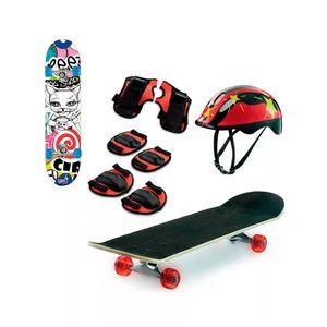 Skate Semi Profissional com Kit Protecão de 8 Peças Zippy Toys