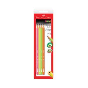 Lápis Grafite Faber-Castell Eco Neon Color Nº2b com 4 Unidades