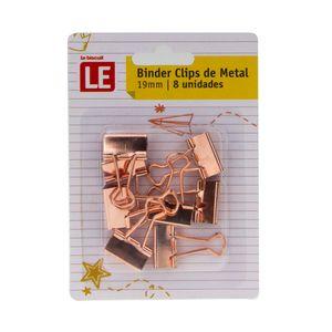 Blinder Clip Metálico Le Rosé 19mm com 8 Unidades