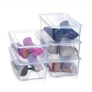 Conjunto com 5 Caixas de Sapatos Arthi Cristal Para 1 Par Transparente Organizadora