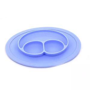 Prato de Silicone Le Baby com Três Divisórias Azul
