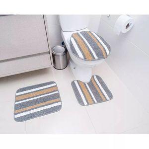 Jogo de Tapetes Para Banheiro Tapetes Junior Onix Pop em Polipropileno Cinza 3 Peças