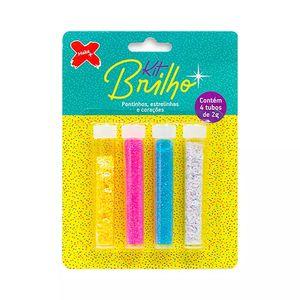 Glitter 8g com Formas de Pontilhos e Estrelinhas 4 Cores Rosa, Azul, Branco e Amarelo