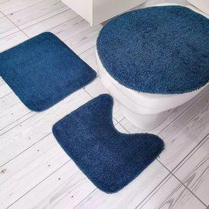 Jogo de Tapetes Para Banheiro Tapetes Junior Color Pop em Algodão Azul Petróleo Antiderrapante 3 Peças