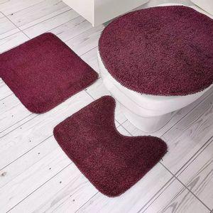 Jogo de Tapetes Para Banheiro Tapetes Junior Color Pop em Algodão Vinho Antiderrapante 3 Peças