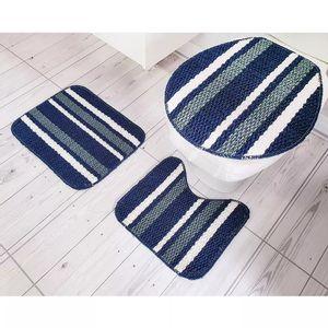 Jogo de Tapetes Para Banheiro Tapetes Junior Onix Pop em Polipropileno Azul 3 Peças