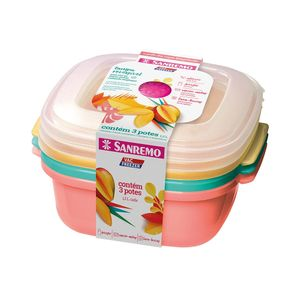 Conjunto de Potes Sanremo em Plástico Colorida Quadrado com 3 Peças 1,3l
