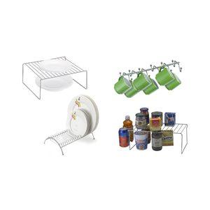 Kit Organização de Cozinha Arthi com 4 Peças Aço Cromado Prata
