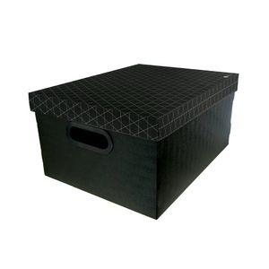 Caixa Organizadora Le Dello Retangular Média Geométrica Preta 39x30x19cm