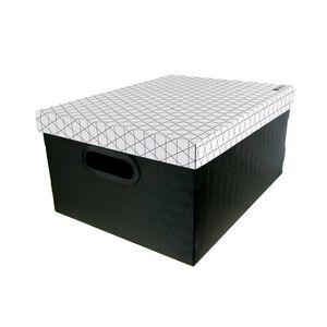 Caixa Organizadora Le Dello Retangular Média Geométrica Branca e Preta 39x30x19cm