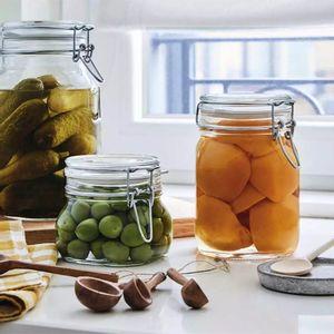 Conjunto de Potes Bormioli Fido em Vidro com Tampa Hermética com 3 Peças 1,5l 1l e 500ml