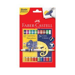 Caneta Hidrográfica Faber-Castell Bicolor com 24 Cores
