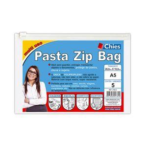 Pasta Zip Bag Chies A5 com 05 Unidades Cristal 26x18cm
