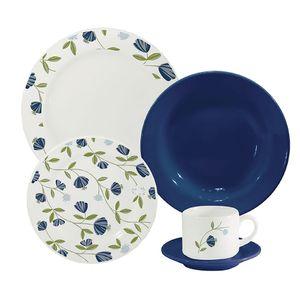 Aparelho de Jantar Oxford Biona Donna Floral Azul 20 Peças