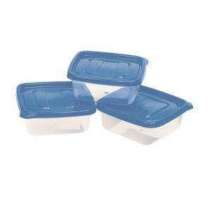 Conjunto de Potes São Bernardo Multiclick em Plástico Quadrado com Tampa Branca com 3 Peças 2,6l