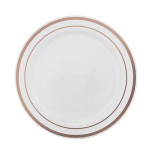 Prato de Plástico Silver Plastic Para Refeição com 6 Unidades Rosé