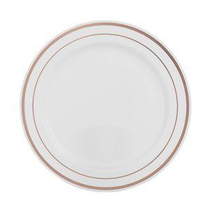 Prato de Plástico Silver Plastic Para Sobremesa com 6 Unidades Rosé