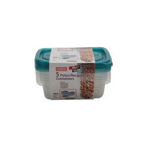 Conjunto de Potes São Bernardo em Plástico Retangular com 5 Peças 240ml - Item Sortido