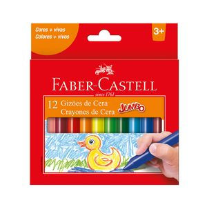 Gizão Cera Faver-Castell Jumbo Cores Vibrantes 12 Unidadses