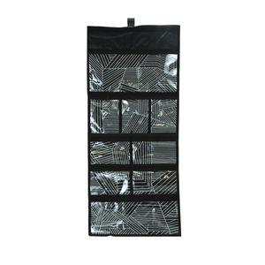 Organizador de Parede Le em Plástico Preto com 9 Divisórias e Gancho 81x35cm