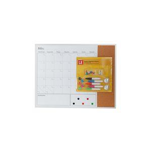Quadro Magnético Branco Le Visão Mensal com Cortiça, Ímãs, Marcadores e Alfinetes 40,6x50,8cm