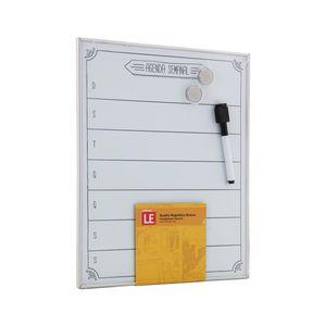 Quadro Magnético Branco Le Agenda Semanal com 2 Ímãs e Marcador 28x35,5cm