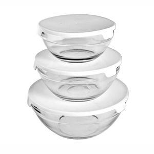 Conjunto de Potes de Vidro Le com Tampa com 3 Peças Cores Diversas - Item Sortido