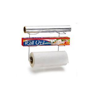 Porta Rolo de Papel Toalha de Parede Arthi em Aço Cromado com Ventosas Para 3 Rolos