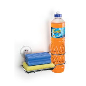 Porta Detergente e Bucha Aramado Arthi em Aço Cromado com Ventosas