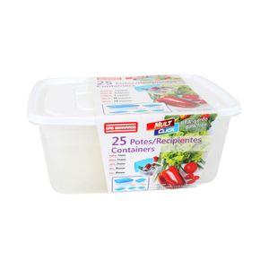 Conjunto de Potes São Bernardo Multiclick em Plástico Quadrado com 25 Peças - Item Sortido