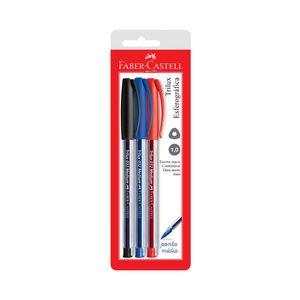 Caneta Esferográfica Faber-Castell Trilux Azul, Preta e Vermelha 1.0mm com 3 Unidades