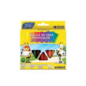 Giz Cera Acrilex Big Triangular com 12 Cores 95g