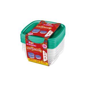 Conjunto de Potes Sanremo Fácil em Plástico Quadrado 530ml Leve 5 e Pague 4