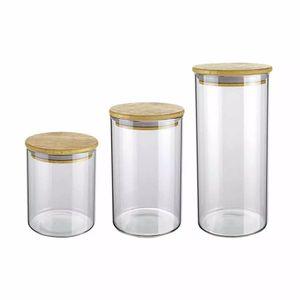 Conjunto de Potes Euro Slim de Vidro Redondo com Tampa de Bambu com 3 Peças