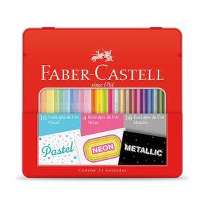 Kit Escolar Lápis de Cor Faber-Castell Estojo Lata Ecolápis 24 Cores