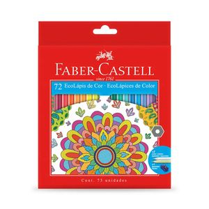 Lápis de Cor Faber-Castell Ecolápis Sextavado 72 Cores Vibrantes