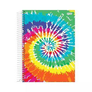 Caderno Universitário Jandaia Espiral Capa Dura Le Tie Dye 10 Matérias 160 Folhas