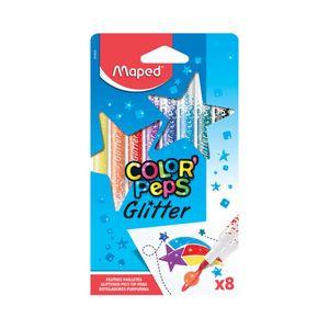 Hidrocor Maped Color Peps Glitter com 8 Cores Vibrantes