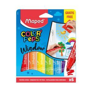 Hidrocor Maped Color Peps Para Superfícies de Vidros com 6 Cores Vibrantes 6.0mm