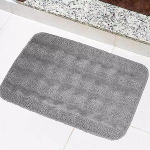 Tapete Para Banheiro Tapetes Junior Esmeralda em Polipropileno 40x60cm Cinza Antiderrapante
