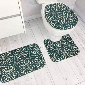 Jogo de Tapetes Para Banheiro Tapetes Junior Tecil Pop em Poliéster Ornament Verde 3 Peças
