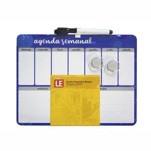 Quadro Le Magnético Branco Agenda Semanal Borda Azul com 2 Ímãs e Marcador 21,5x28cm