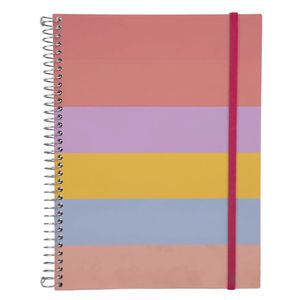 Caderno Confetti Espiral Capa Plástica 1/4 Le Listras Candy Colors 96 Folhas