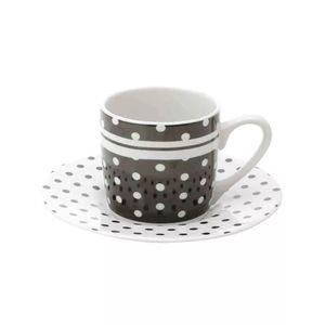 Conjunto de Xícaras de Café Lyor Black Dots em Porcelana 6 Peças 90ml